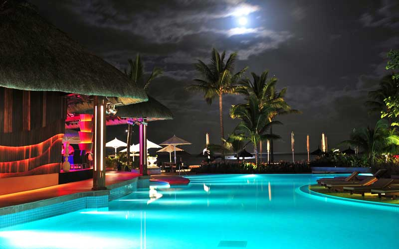 Nighttime Pool View
